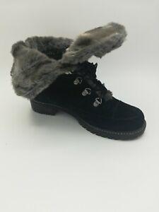 Stuart Weitzman  Suede & Fur Trim Combat Style Ankle Boots/ Bootie Women's 7M