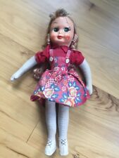 """Vintage Poland Baby Girl Doll Red Dress 16"""" Jointed Green Eyes"""