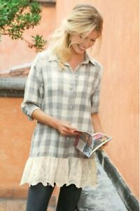 Soft Surroundings Chanteclair Top Gray Checked Lace Hem Small