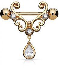 Dangle Rose Gold Ip 316L Stainless Dynamique Cz Heart Filigree Tear Drop Cz
