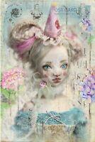 Clown Girl #2 Collage Art - Craft & Quilt Cotton Fabric Block Bella Stitchery