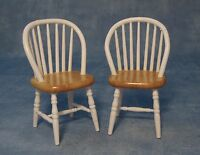DOLLS HOUSE 1/12th SCALE PAIR WHITE/PINE KITCHEN CHAIRS
