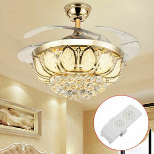 "42"" Modern Invisible Ceiling Fan Light LED Crystal Chandelier Light W/ Remote US"