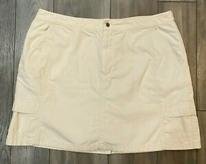 Columbia Skort Skirt Women's 14 Khaki Beige Cotton Hiking Golf Trail Outdoor