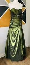Prom Idol Sequin Prom Dress Bridesmaid Ball Gown Size 14 Olive Green BNWT