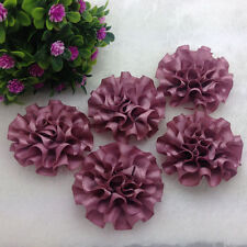 5pcs Light purple satin ribbon big Peony Flower Appliques/Wedding/decoration#