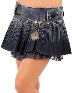 SeXy Miss Retro Hüft Jeans Mini Rock Plissee Spitze Look Gürtel 34 36 38 blau