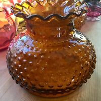 "Vintage Hurricane Lamp Student Lamp Shade Amber Hobnail 7"" Fitter"