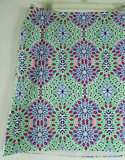 TALBOTS 10P 10 Petite Skirt Straight Pencil Green Blue Moroccan Floral Career dd