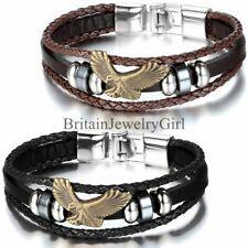 Многослойное летящий орел плетеная бусина манжеты кожаный браслет-повязка на запястье мужчин, женский