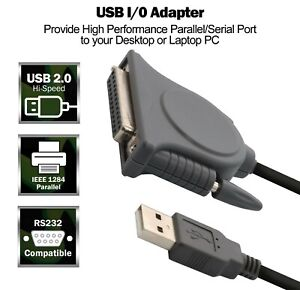 USB to IEEE-1284 Parallel DB25 Port Adapter Cable Prolific PL-2305 chipset