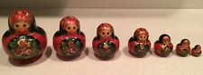 7 Nesting Dolls Russian Wooden Art 13 Pieces Matryoshka Handmade Signed Flowers
