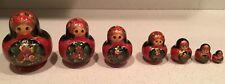 7 Nesting Dolls Russian Wooden Art 13 Pieces Matryoshka Handmade Signed Flowers