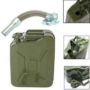 Jerry Can 20L Gasoline Fuel Can Metal Gas Tank Travel Car Emergency Backup Green