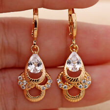 18K Gold Filled -Hollow Waterdrop Multilayer Laser Carved Topaz Drop Earrings DS