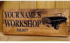 Garage Atelier Porte Signe Personnalisé Plaque Plaque de voiture en bois abri Man Cave bar