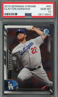 Clayton Kershaw Los Angeles Dodgers 2016 Bowman Chrome Baseball Card #50 PSA 10