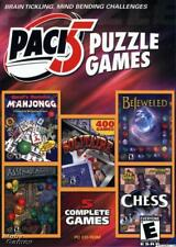 Pack 5 Puzzle Games PC CD Bejeweled, Moraff's Mahjongg, King Sol Solitaire lot!
