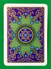 Playing Cards Single Card Old Antique Wide Blue + Gold FLOWERS Flower Art Design
