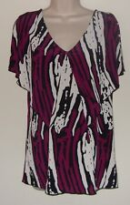 """Attention Multi Color Slitted Bat Wing  Short Sleeve Top M/M Bust 36"""" Lth 26"""""""