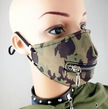 Camouflage Punk Rave Masquerade Mens Zipper Mask Mouthguard Leather Goth Hip Hop