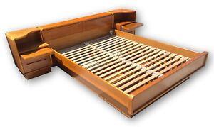Teak Queen Danish Modern Platform Bed & Nightstands, Under bed drawers, Scandi