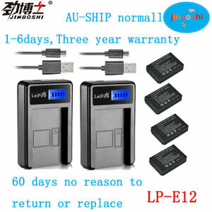 4xBattery for LP-E12+ 2XLCD1 Charger for Canon 100D Rebel SL1 AU-ship