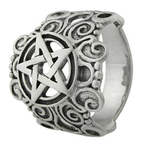 Large Sterling Silver Pentacle Pentagram Ring Wiccan Pagan Jewelry Size 4-15