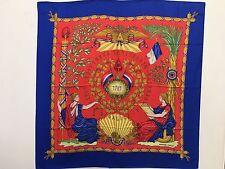 "Hermes Scarf 100% Silk French Revolution 1789 République Francaise Auth New 36"""