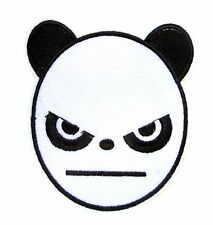 Angry Panda Face Iron On Patch-  Animal Safari Zoo Embroidered Applique Badge