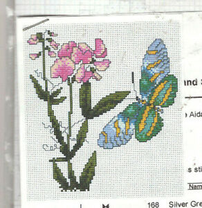 REDUCED!! Butterfly and Flowers Counted Cross Stitch Kit PRETTY!