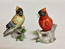 """Miniature Porcelain Bird Figurines Set of 2 - Oriole and Cardinal 2.5"""" C-9692"""