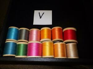 1 Lot of 12 Vintage Wood Spools of Sewing Thread- A Variety of Brands & Colors