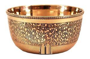 Brass Bowl Embossed Flower Design (Capacity Of  150ml ,Golden) For All Occasion