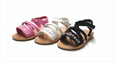 New Infant Baby Girl's Embroidered Straps Sandals Size 1 - 5