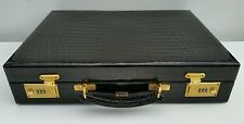 SWAINE ADENEY BRIGG Attaché Case Briefcase Black Crocodile Leather James Bond