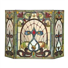 Hand-crafted Tiffany Style Stained Glass 3 Section Victorian Fireplace Screen