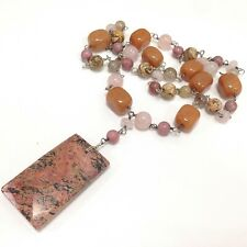 Stone Beads Necklace & Pendant Jewelry Jay King Dtr 925 Sterling Silver Natural