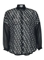 New Womens Plus Size Gothic Black Kimono Shirt Blouse Top Cross Print Oversize