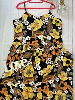 M&S Autograph 20 yellow floral floaty strappy summer holiday dress knee length