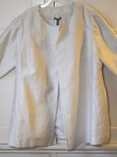 Eileen Fisher 1X Long Jacket  BONE Round Neck Jaquard   Ret. $418  NEW  NWT