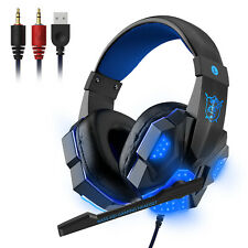 3.5mm Gaming Headset Mic LED Auriculares Graves Estéreo envolvente de PC Xbox One PS4