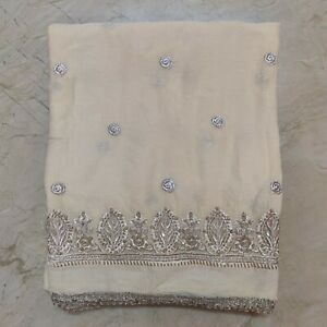 """Ethnic Indian Dupatta Scarf Long Sequins Hand Embroidery Georgette Veil Stole L"""""""