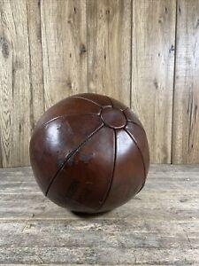 Antique 1930's Brown Leather Eight Pound Gym Medicine Ball.