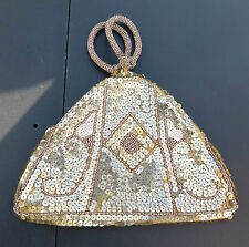 UNUSUAL SEQUIN & BEAD DECO STYLE EVENING BAG / HANDBAG & MIRROR CZECHOSLOVAKIA