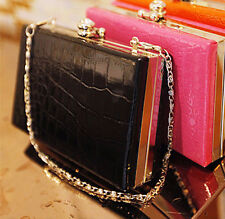 High Fashion Black Faux Patent Crocodile Pattern Clutch Jewelled Gothic Purse