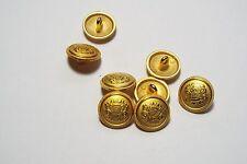 8pc 15mm Gold German Russian Inspired Metal Blazer Coat Cardigan Button 2850