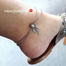 Sterling Silver Layered Opal Dreamcatcher Anklet