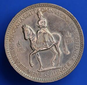 1953 Coronation Crown Five Shillings Elizabeth II QEII nice coin *[22315]