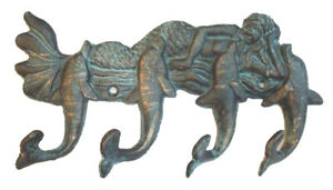 Tropical Mermaid and Dolphins Cast Iron Wall Hooks Pegs